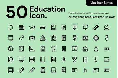 50 Education Line Icon