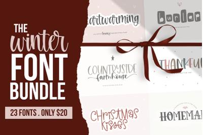 Winter Font Bundle - 23 Handwritten Fonts!