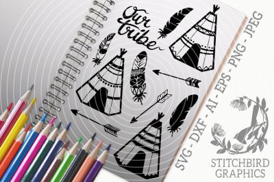 Tipis Bundle SVG, Silhouette Studio, Cricut, Eps, Jpeg, Png