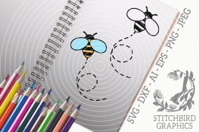 Cute Bumblebee SVG, Silhouette Studio, Cricut, Eps, Dxf, AI, PNG, JPEG
