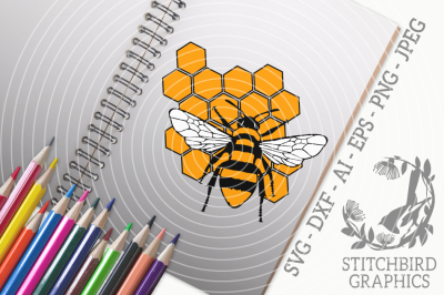 Bumblebee HoneycombSVG, Silhouette Studio, Cricut, Eps, Dxf, AI, PNG