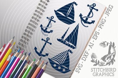 Sailing Boat SVG, Silhouette Studio, Cricut, Eps, Jpeg, Ai