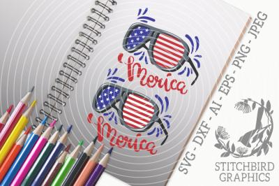 Merica Sunglasses SVG, Silhouette Studio, Cricut, Eps, Dxf