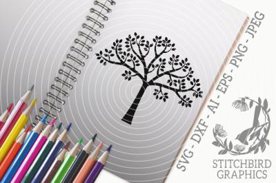 Spring Tree SVG, Silhouette Studio, Cricut, Eps, Dxf, AI, PNG, JPEG