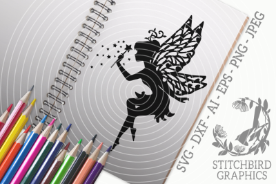 Fairy SVG, Silhouette Studio, Cricut, Eps, Dxf, AI, PNG, JPEG