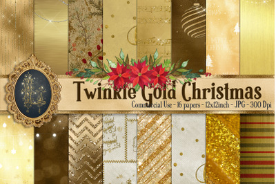 16 Twinkle Gold Christmas winter holiday Digital Papers