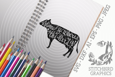 Home Is Where The Herd Is SVG, Silhouette Studio, Cricut, Eps, Dxf, AI