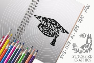 The Adventure Begins Graduation SVG, Silhouette Studio, Cricut, Eps
