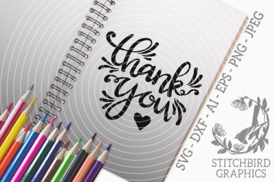 Thank You SVG, Silhouette Studio, Cricut, Eps, Dxf, AI, PNG, JPEG