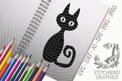 Black Cat SVG, Silhouette Studio, Cricut, Eps, Dxf, AI, PNG, JPEG