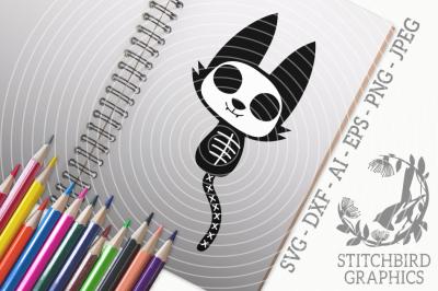 Halloween Skeleton Cat SVG, Silhouette Studio, Cricut, Eps, Dxf, AI