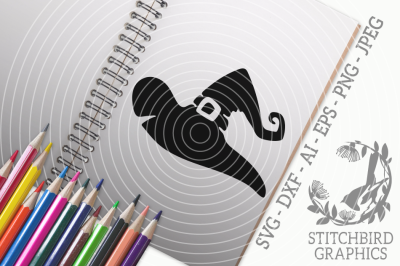 Witches Hat SVG, Silhouette Studio, Cricut, Eps, Dxf, AI, PNG, JPEG