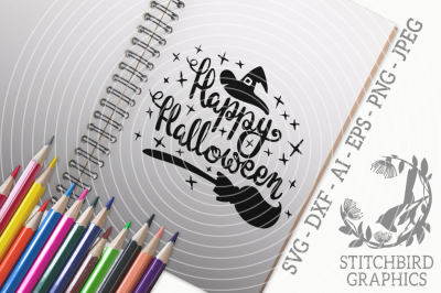 Happy Halloween Witchy SVG, Silhouette Studio, Cricut, Eps, Dxf, AI