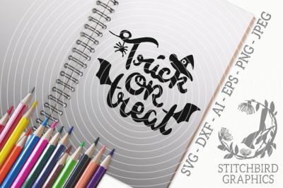 Cute Trick or Treat SVG, Silhouette Studio, Cricut, Eps, Dxf, AI, PNG