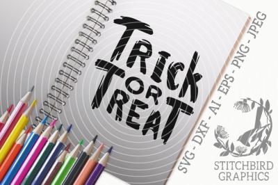 Distressed Trick or Treat SVG, Silhouette Studio, Cricut, Eps, Dxf, AI