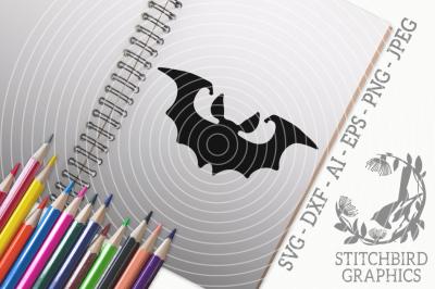 Halloween Bat SVG, Silhouette Studio, Cricut, Eps, Dxf, AI, PNG, JPEG