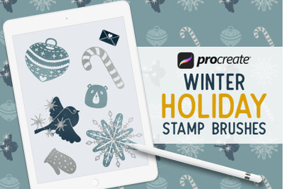 50 Procreate Winter Holiday Christmas Stamp Brushes