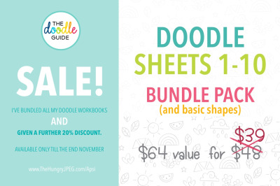 SALE - Doodle Sheets 1- 10 (plus BONUS)