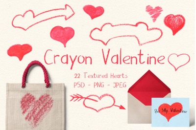 St Valentine Hearts - Crayon or Chalk Handdrawn Clipart