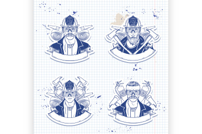 Set of sketch fireman stickers 1