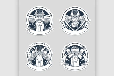 Set of sketch fireman stickers