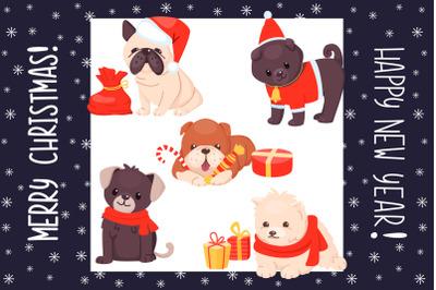 Christmas dogs cartoon cute set