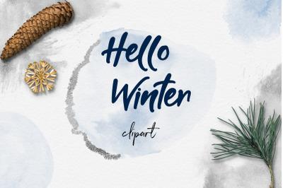 Watercolor & Silver Winter Clipart