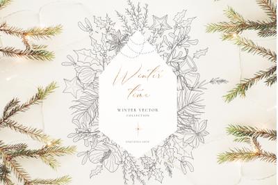 Winter clipart. Christmas vector illustrations
