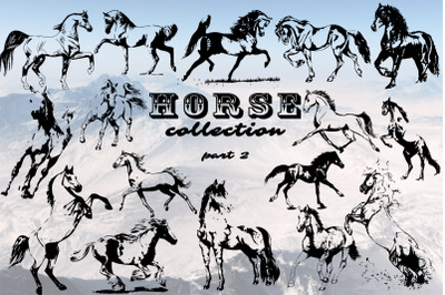 Hand drawn horse collection 2 vector