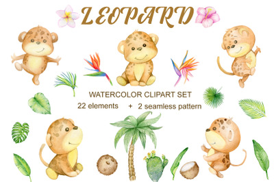 Watercolor Tropical Leopard Animal clipart. Leopard cat and jungle gre