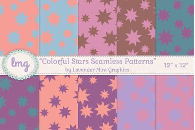 Colorful Stars Seamless Patterns