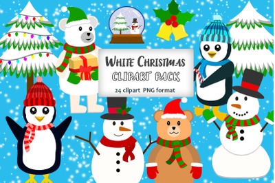White Christmas Clipart Pack