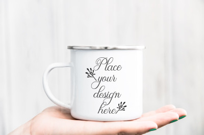 Enamel tin mug mockup metal girl holding cup mock up camp mockups