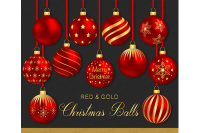Red and Gold Christmas Balls Clipart, Christmas Baubles