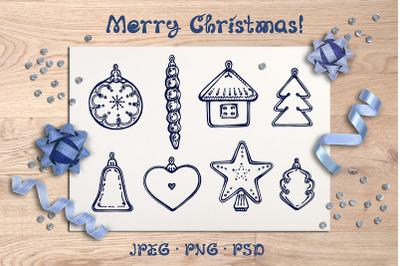 8 hand drawn Christmas decorations