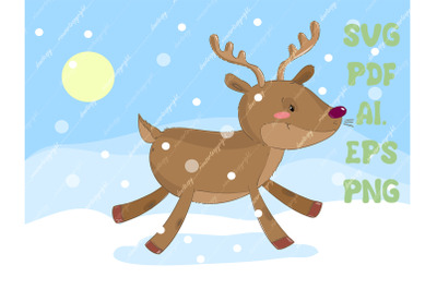 Christmas reindeer SVG download, deer PNG, North nature winter. Christ