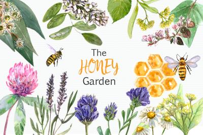Watercolor Honey Garden Clip Art