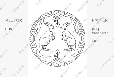 Coloring page with animals. Kangaroo