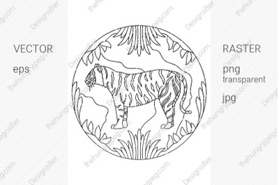 Coloring page with animals. Tiger