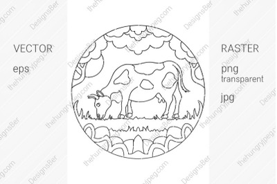 Coloring page with animals. Farm cow