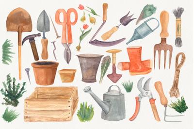 Garden tools Watercolor