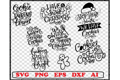 Christmas Baking SVG Bundle, 7 Holiday Svg Files, Pot Holder Svgs