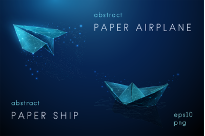 Abstract paper airplane and paper ship.