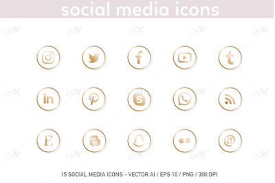 Social Media Icons. White-Gold Set