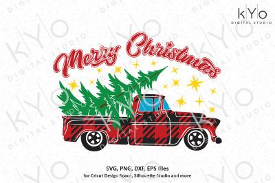 Christmas Buffalo Plaid Old Pickup Truck svg png files