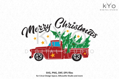 Merry Christmas Red Old Truck with Tree svg png dxf files