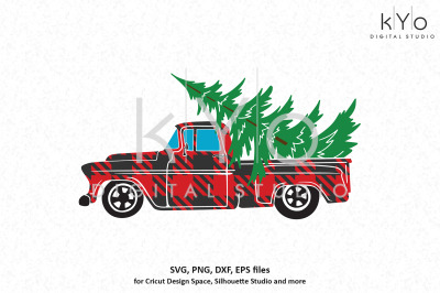 Old Christmas Pickup Truck Plaid pattern svg png dxf files
