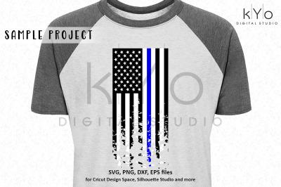 Police Thin Blue Line Distressed US Flag svg file