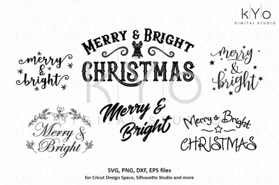 Merry and Bright Christmas Bundle svg png dxf eps files