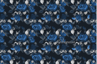 Pattern with blue roses